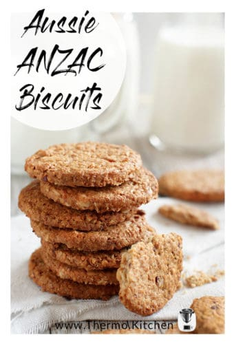 Titled image of a stack of ANZAC cookies with milk