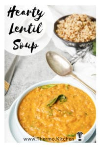 Pinterest labelled image of Thermomix lentil pumpkin soup on table setting