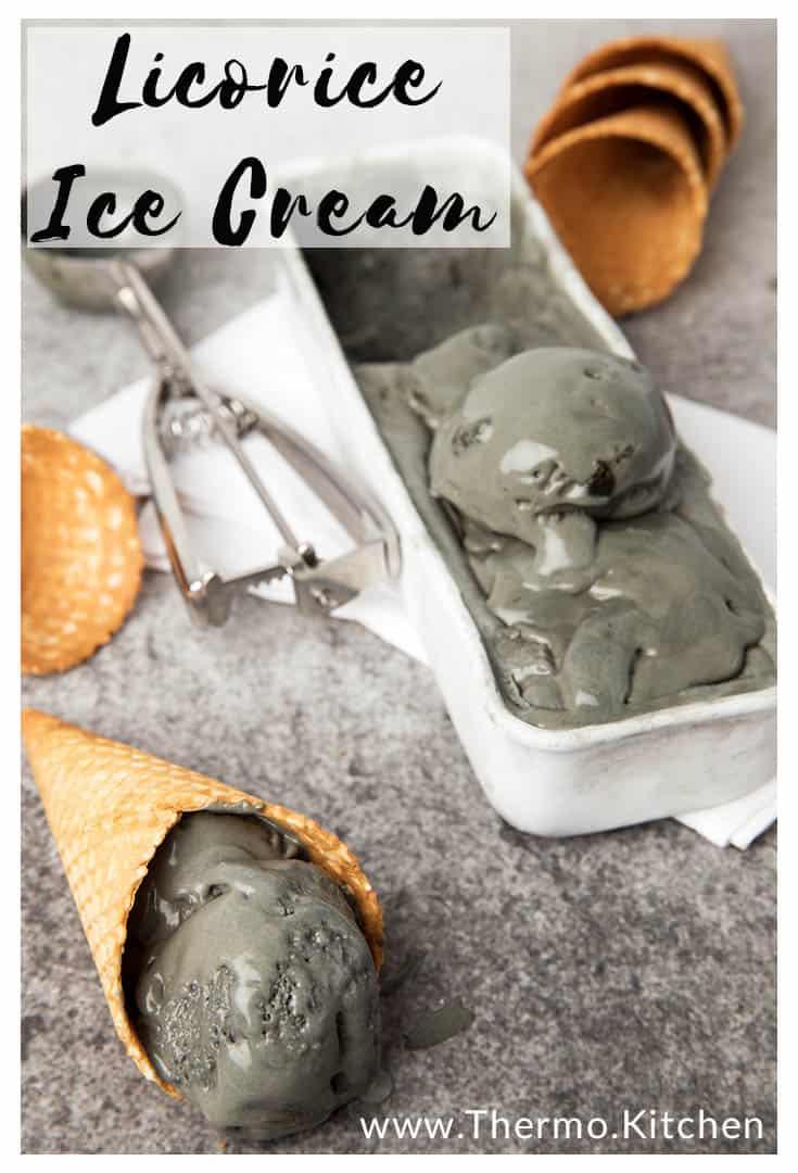 A scope of licorice ice cream on a dark background