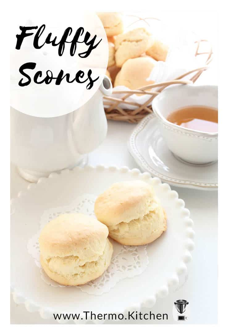 Pinterest titled image Fluffy scones on white crockery and white background