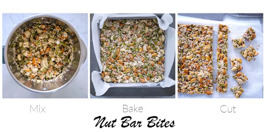 Three images showing the step to make nut bars