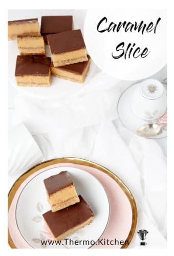Titled image of Caramel slice displayed on a platter and a plate white and pink background