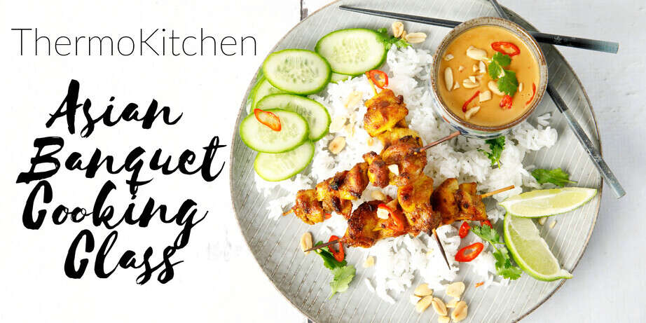 Image of Malaysian Chicken Satay advertising an Asian Cooking Class