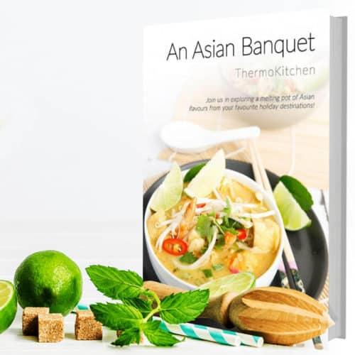 Asian Banquet Cookbook Hardcopy Square Lifestyle for Bulk order discounts