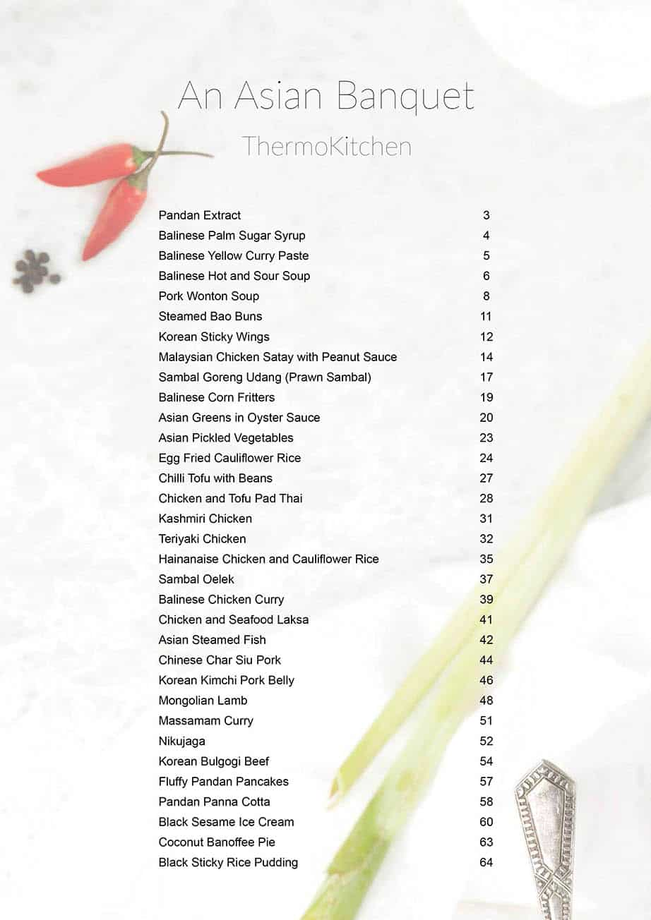 Image of the recipe index for An Asian Banquet Thermomix cookbook