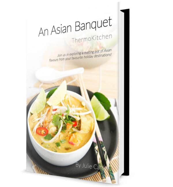 An Asian Banquet Cookbook Hardcopy Cover page with Laksa on the front