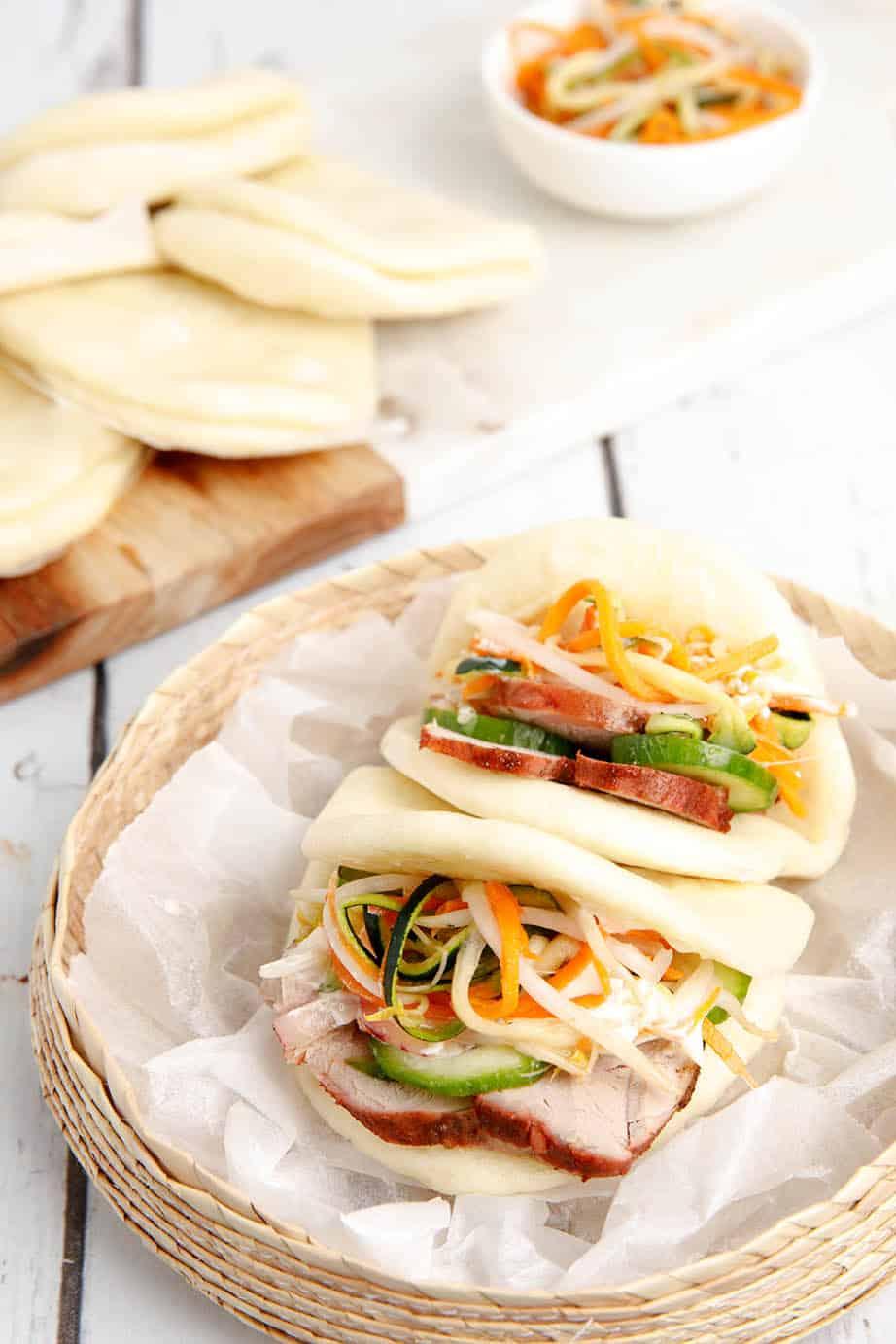 Char Siu Bao Bun filled with salad and pork