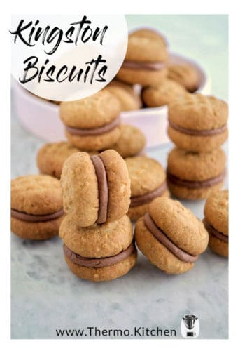 Pinterest titled image of Kingston Biscuits on a grey background