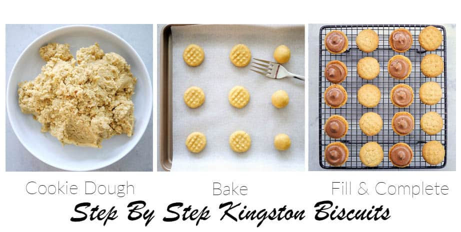 3 Images showing the steps to making Kingston biscuits and adding the creme filling
