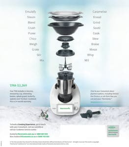 Diagram of all the features of the Thermomix TM6 with accessories