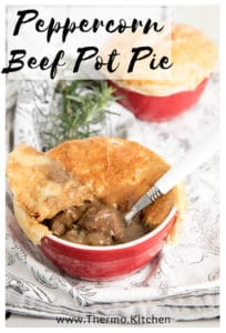 Pinterest labelled image of two peppercorn pot pies