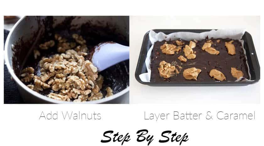 Two steps in making chocolate brownies