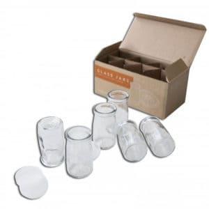Glass Yoghurt pots in a box