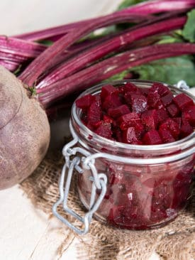 Portrait Pickled beetroot on white background
