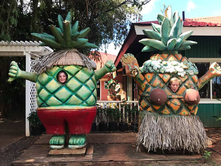Dole Plantation Big Pineapple with children's faces inside.