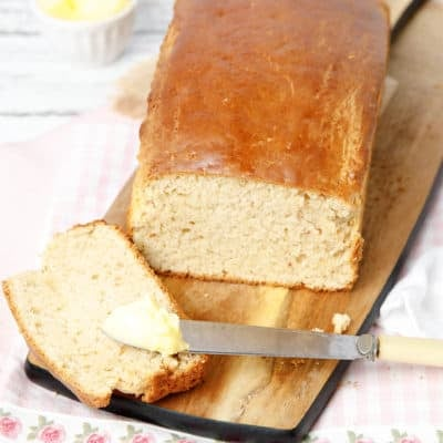 Portrait image overhead peanut butter bread sliced