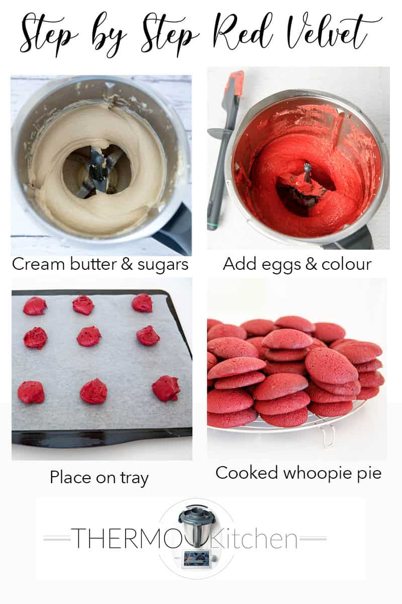 4 images showing steps in making red velvet whoopie pies