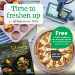 Thermomix Gift with purchase flier showing pizza tray and cookbook