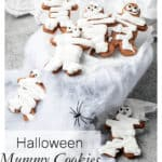 Title image of chocolate mummy Halloween cookies