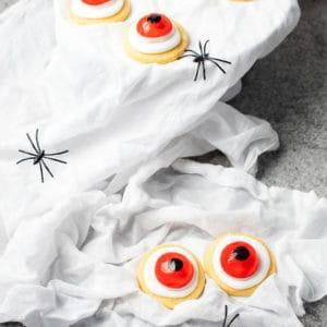 Sugar cookie Halloween Eyeballs on a spooky background