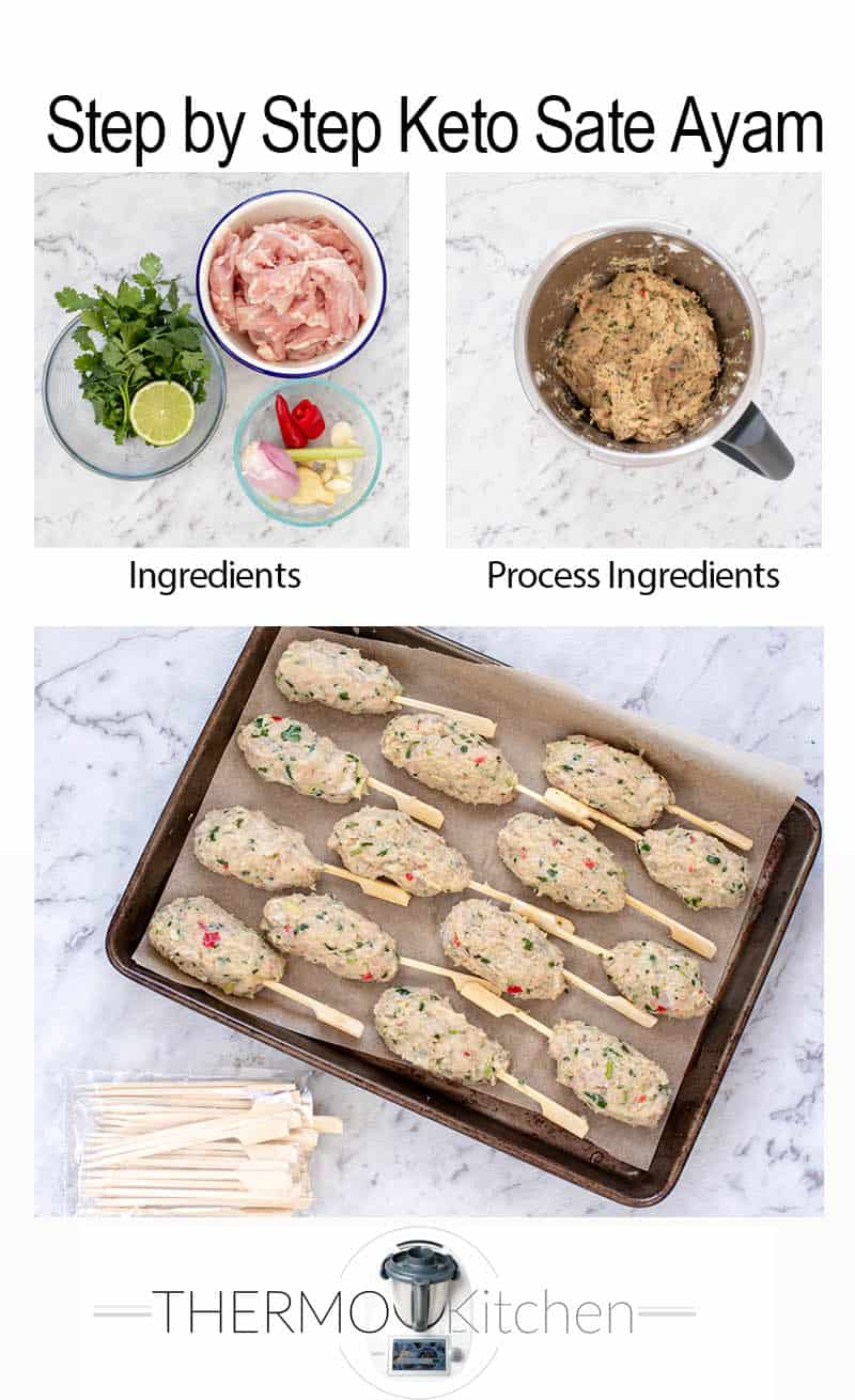 3 images showing the steps to make Keto Chicken Kebabs