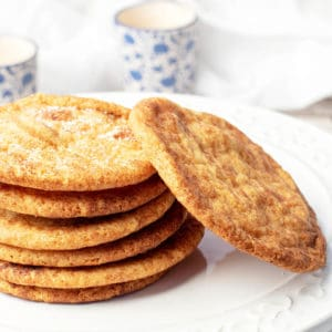Close Up Caramilk Snickerdoodle Cookies in a stack on a white platter