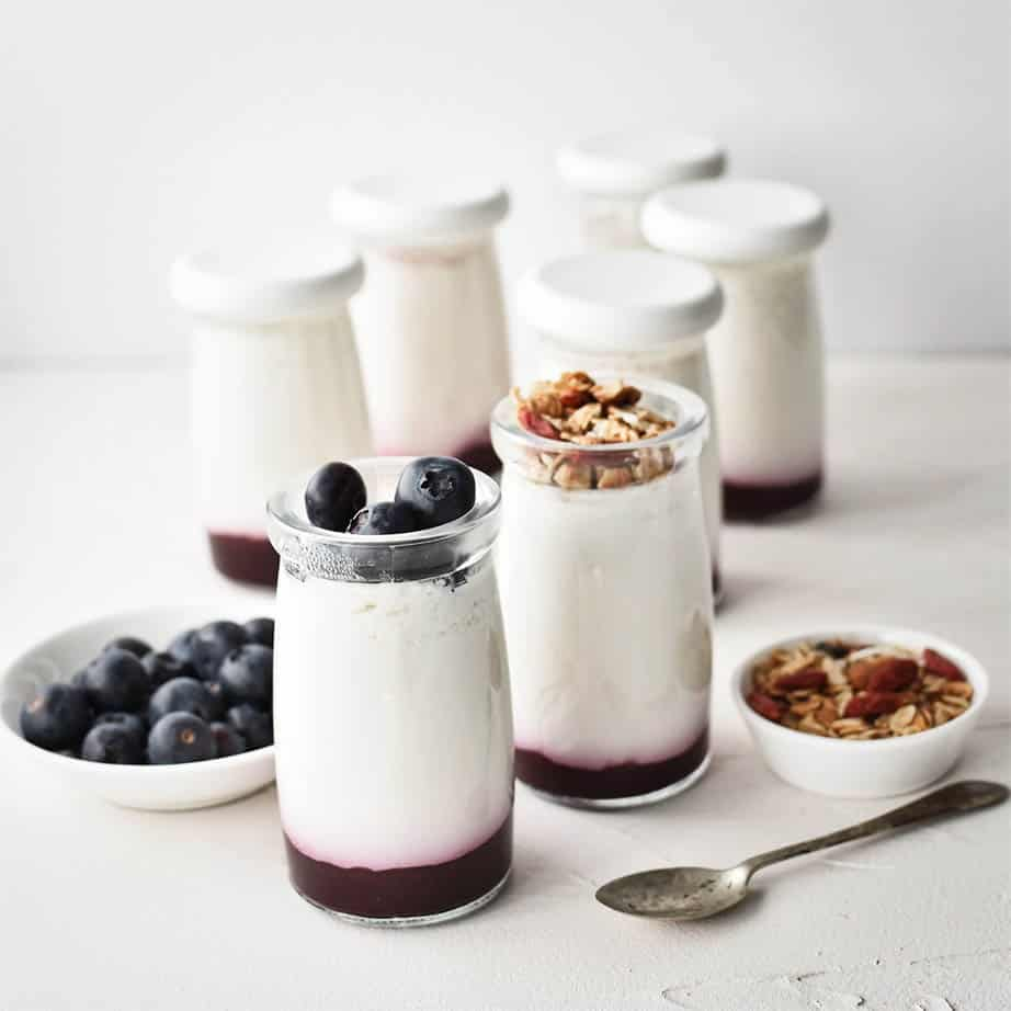 Natural yoghurt in yoghurt pots on a white background with berries