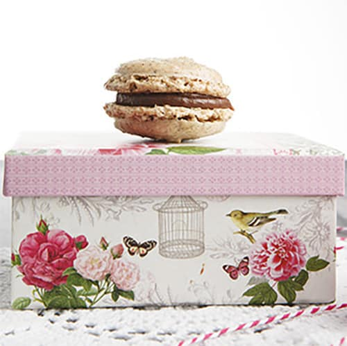 Single Hazelnut macaron sitting on a pink floral box