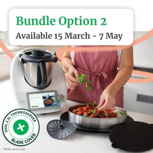 Thermomix with add on gifts blade cover and thermoserver pictured