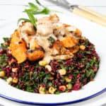 Portrait image Black rice chicken salad bowl on white background