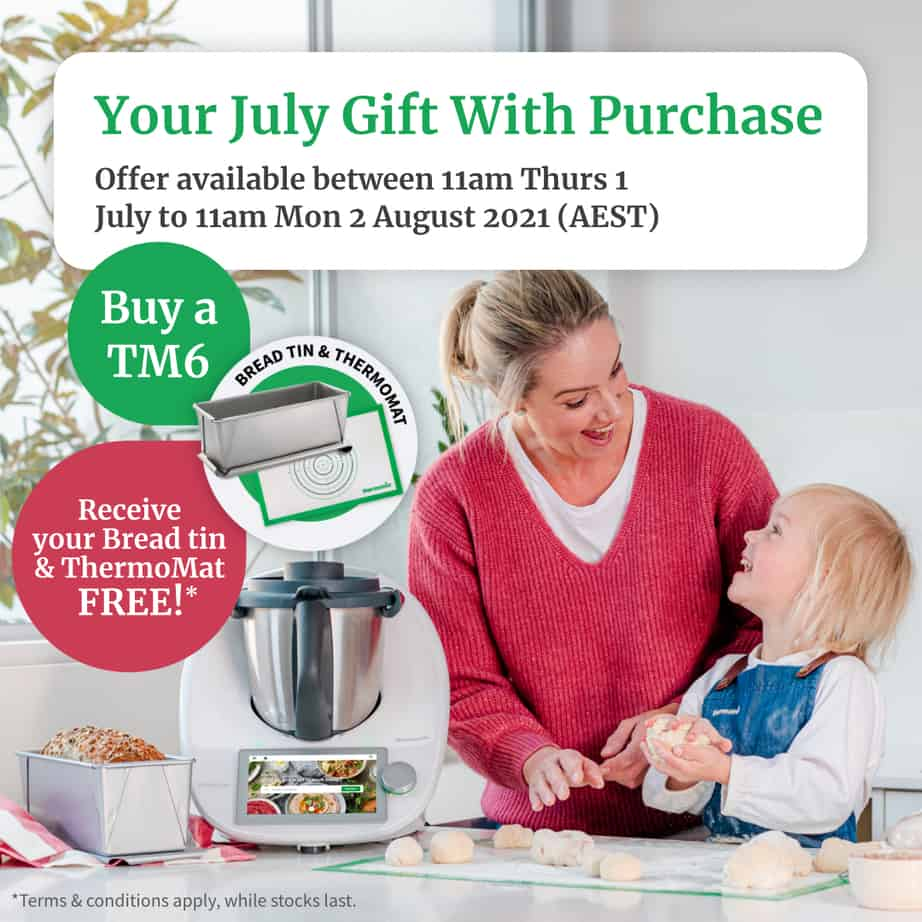 Sales image of Thermomix TM6 offer with bread tin and mat.
