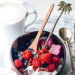 Coconut bowls with fruit and yoghurt
