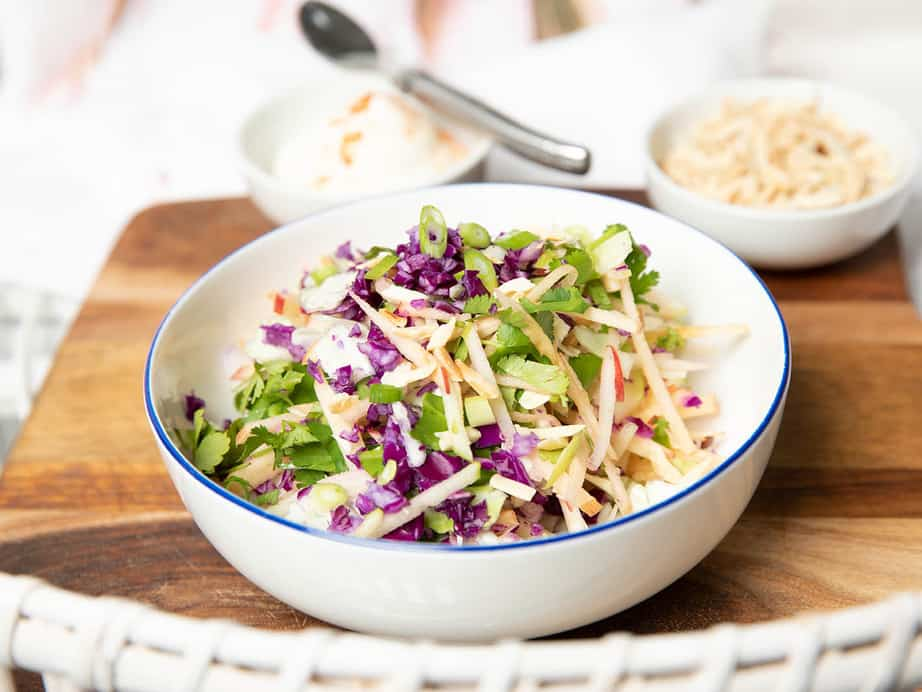 Apple Thermomix Coleslaw with lime Aioli.