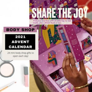 Feature image advertising the body shop Advent calendar 2021