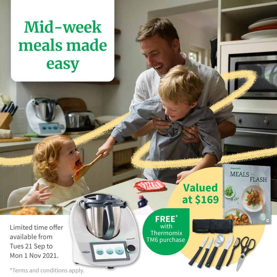 Picture of a kitchen with Thermomix and gift with purchase information.